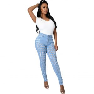 2021 New Women Clothes Ripped Washed and Worn Sexy Stretch Jeans - Light Blue - XX Large
