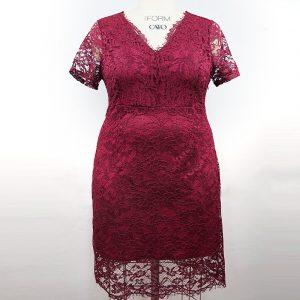 2021 Spring and Summer New Gentle Large Size Women Clothing Fat Sister Elegant Slim Lace Sheath V-neck Dress - Burgundy - XXXX Large