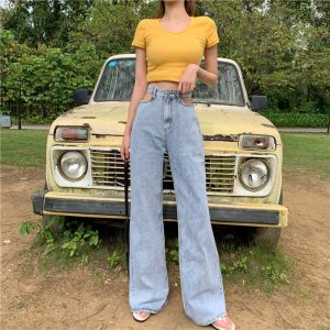 High Waist Wide Leg Jeans Hot Girl Retro Hollow Mop Thin Looking Fashion All-Matching Trousers 2021new - Blue [High Quality]] - Extra Large
