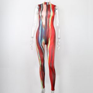 2021 New Tie-Dyed Printed Contrast Color Stand-up Collar Sleeveless Tight Waist Sheath Jumpsuit - Red - Large