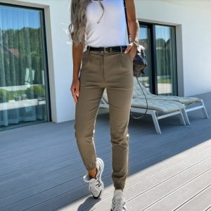 2021 New Women  Autumn New Women Pants Pocket Slim Fit Fashion Casual Cropped Pants - Army Green - XX Large