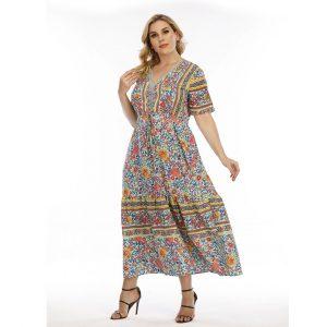 Bohemian Large Size Dress  Wearable Fat Lace Patchwork Long Dress - Light Green - XXXX Large