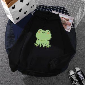 2021 Frog  Style Loose Fashion Hoodies Women - Black - XXX Large