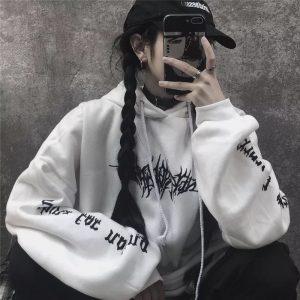 2021 Autumn Winter Sweater Women Loose Streetwear Black Sweatshirt Printed Hoodie Fashion Long Women Tops - White - Extra Large