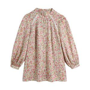 2021  Summer Wind Women New Long Sleeve Loose Flower Print Shirt - Multi - Large