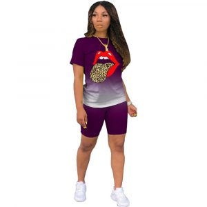 2021  Short Sleeve Gradient Blouse and Pants Positioning Printed Lips Fashion Slim Suit - Purple - XXX Large