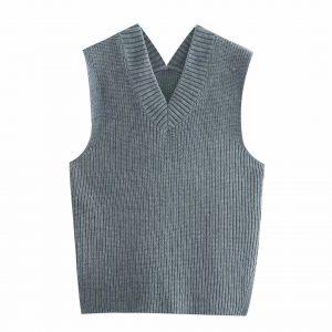 2021  Women Clothing   Loose Split V-neck Sleeveless Knit Vest Vest Mid-Length Sweater - Gray - Large