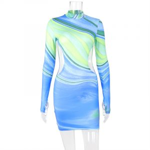 2021 Autumn New Printed Contrast Color Sexy Stand-up Collar Backless Long Sleeves Sheath Dress - Blue - Large