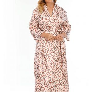 Silk Satin Large Size Japanese Style Nightgown Loose Home Wear  Long Sleeve Leopard Print Long Pajamas - White - XXXXX Large