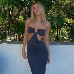 2021  Women Clothing Summer New Solid Color Spaghetti Straps Chest Wrap Hollow off-Shoulder Sexy  Dress - Blue - Large