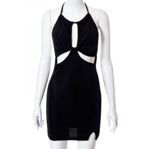 2021  Style  Women Clothing Spring and Summer New Fashion Wrapped Chest Halter Sexy Backless Hollow Dress - Black - Large
