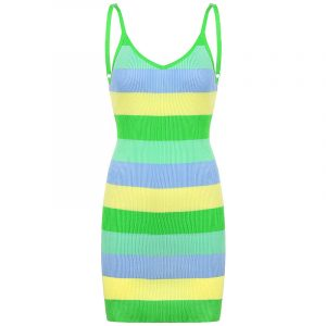 2021  Style  Fashion Cross-Border  Women Clothing Colored Mosaic Contrast Color Spaghetti Straps Slimming Knitted Dress - Green - Large