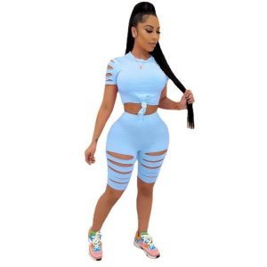 New Women Clothing Solid Color Burnt Flower Hole Exposed Navel Sexy Casual Sports Suit Two-Piece Set - Light Blue - XX Large