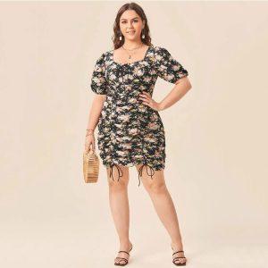 2021  Square Collar Black Temperament Commute Oversized Short Sleeve Printing  Style Dress - Black - XXXX Large