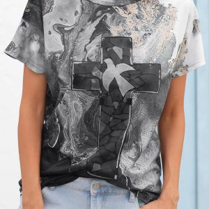 2021 Autumn New Women Loose Casual Tie Dyed Crew Neck T-shirt - Gray - XX Large