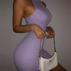 2021  Style Summer New Women round Neck Sleeveless Reverse Car Edge Solid Color Trendy Slim-Fit Sheath Dress for Women - Purple - Large