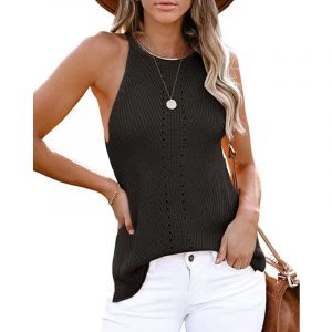 2021  Summer Women Clothing New  Loose Halter Vest Knitted Beach Women Plus size - Black - XXX Large