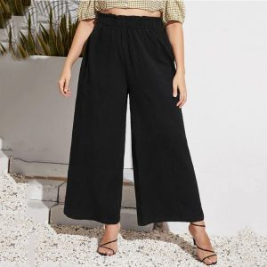Summer High Waist Temperament Commute Fashion plus-Sized Size Knitted Women Casual Pants - Black - XXXX Large