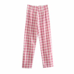 Internet Celebrity Color-Contrast Check Casual Pants Street Shooting  Fashion Blogger High Waist Skinny Pants Smart Trousers Women - Pink - Large
