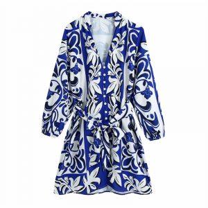 2021  Autumn New Retro Style V-neck Long Sleeve Printed Waist-Controlled Blue Dress Female - Blue - Large