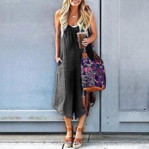 2021 Plus Size Suspender Jumpsuit Summer Denim Wide Leg Loose Casual Pants Pocket Suspender Pants - Black - XXX Large