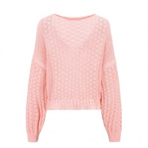 Women Clothing Sexy V-neck Hollow out Sweater Loose Knitted Top - Pink - Extra Large
