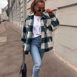Thick Retro Plaid Shirt Coat 2021  Women Clothing Autumn Plaid Shirt - Green - Large