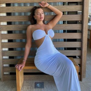 2021  Women Clothing Summer New Solid Color Spaghetti Straps Chest Wrap Hollow off-Shoulder Sexy  Dress - White - Large