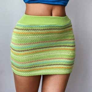 Women  Clothing  Summer New  Sexy Slim Color Woven Skirt Hip Skirt - Green - Large