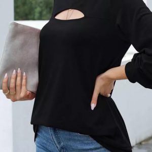2021 Autumn New Women Solid Color Loose round Neck Long Sleeve T-shirt - Black - XX Large