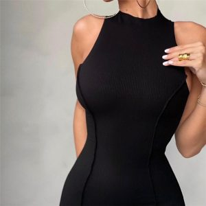 2021  Style Summer New Women round Neck Sleeveless Reverse Car Edge Solid Color Trendy Slim-Fit Sheath Dress for Women - Black - Large