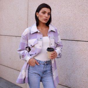 Thick Retro Plaid Shirt Coat 2021  Women Clothing Autumn Plaid Shirt - Purple - Large