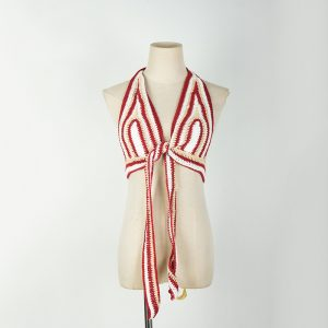 2021  Striped Halter Chest-Wrapped Beach Nightclub Sexy Beauty Back Rope Camisole Underwear Women Sweater Plus size - Red - XXX Large