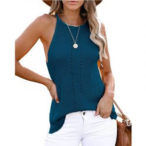 2021  Summer Women Clothing New  Loose Halter Vest Knitted Beach Women Plus size - Blue - XXX Large