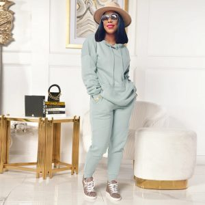 2021 Autumn and Winter Long Sleeves Solid Color Japanese Sweater Loose Casual Pants Suit - Gray - XX Large