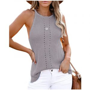 2021  Summer Women Clothing New  Loose Halter Vest Knitted Beach Women Plus size - Gray - XXX Large